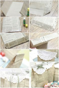 Sweet (news)paper bags. You could make them out of brown paper too, great to hold baby or wedding shower favours