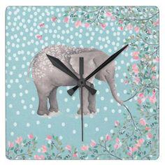 Happy Elephant- Watercolor Illustration Square Wall Clock