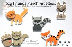 XXX Foxy friends punch art animal ideas from Stampin Up! Paper Punch Art, Punch Art Cards, Scrapbooking, Scrapbook Cards, Foxy Friends Punch, Stampin Up Anleitung, Craft Punches, Owl Punch, Stampin Up Catalog