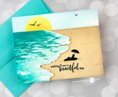 Fun Fold Card Video by Jennifer McGuire Ink Fun Fold Cards, Folded Cards, Hero Arts Cards, Jennifer Mcguire Ink, Beach Cards, Card Tags, Card Kit, Cards For Friends, Card Tutorials