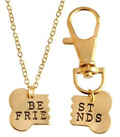 StylesILove Handstamped BFF Best Friend Dog Bones Friendship Charm Necklace and Key Chain 2-pc Set (Gold)