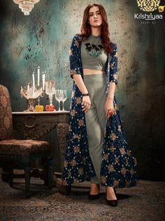 COVER STORY BY KRISHRIYAA 9451 TO 9457 SERIES  DESIGNER SUITS BEAUTIFUL STYLISH FANCY COLORFUL PARTY WEAR & ETHNIC WEAR RAYON PRINT KURTIS AT WHOLESALE PRICE Western Dresses, Western Outfits, Dress Indian Style, Indian Wear, Indian Designer Outfits, Designer Dresses, Hand Embroidery, Embroidery Designs, Long Shrug