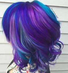 Blue, Purple and Pink Bob Hairstyle