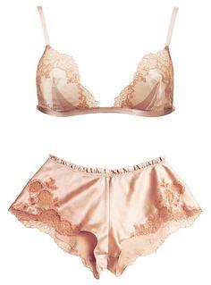 peachy vintage silk and lace bra and panties set