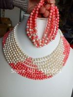Free ship!!!Elagent pink coral and white freshwater pearl strand necklace and earing african wedding jewelry set