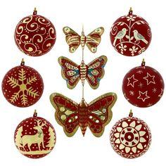 Papiermache Red Christmas Ornaments Set von 6 Kugeln und 3 Schmetterlinge ShalinIndia http://www.amazon.de/dp/B00GWLF1NM/ref=cm_sw_r_pi_dp_Kntkub0PGXBGP