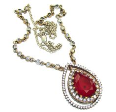 $97.50 Victorian+Style!+Red+Ruby+&+White+Topaz+Sterling+Silver+necklace at www.SilverRushStyle.com #necklace #handmade #jewelry #silver #ruby