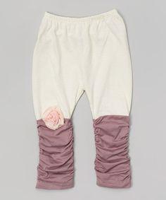 Look at this #zulilyfind! Ecru & Purple Leggings - Infant, Toddler & Girls by Victoria Kids #zulilyfinds