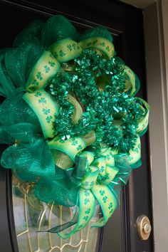 St Patricks Day Wreath by polkadotowlcreations on Etsy, $60.00