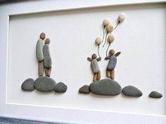 Arte de la pared familiar familia de regalo cuatro guijarro