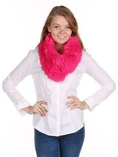 SCARF / FRINGED SOFT FUR / INFINITY NECKWARMER / 16 1/2 INCH LONG X 12 INCH WIDE / 100% ACRYLIC / ONE SIZE / NICKEL AND LEAD COMPLIANT