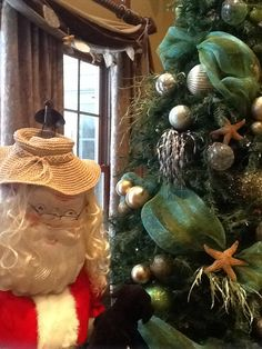 """Santa Claus, Beachy, Coastal Christmas This year Santa has traded in his traditional hat for something a little more """"beachy""""! :)"""