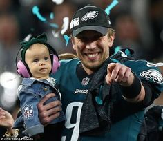 Nick Foles with his daughter Lily Foles after winning the super bowl in 2018. #philadelphiaeagles #superbowl52 #nickfoles