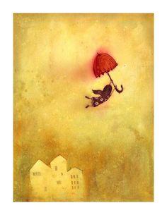 Umbrella art print & umbrella print & by LeeWhiteIllustration Umbrella Girl, Red Umbrella, Under My Umbrella, How To Paint Digitally, Umbrella Tattoo, Lee White, Whimsical Art, Belle Photo, Childrens Books
