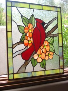 Cardinal Stained Glass Panel by Tucson Pepper, via Flickr