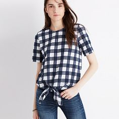 Plaid Button-Back Tie Tee