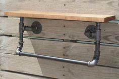 Industrial Wood Shelf and Pipe Towel Rack