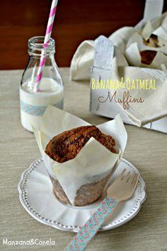 Manzana&Canela : Muffins de plátano y avena, sanos y deliciosos.