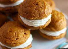 Mini Pumpkin Whoopie Pies With Maple Cream Cheese Filling - kind of can't go wrong with this combination