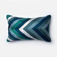 Coastal Chevron Embroidered Lumbar Pillow