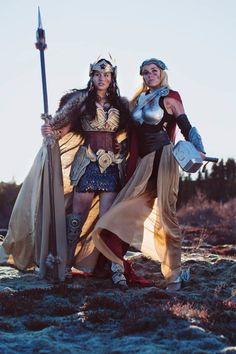 Meagan as Valkyrie Wonder Woman, Reilena as Thor - Pushing Cosplay To Its Absolute Limits