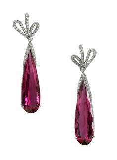 Mark Patterson Rubellite and Diamond Earrings. Boho Chic....