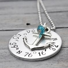 Coordinate Anchor Necklace With Birthstone