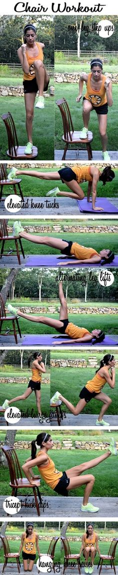 Great for at home workout or at the gym with a bench.   Sunshine And A Daisy: Six Workout Moves You Can Do With A Chair