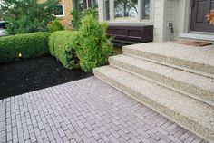 exposed concrete aggregate steps