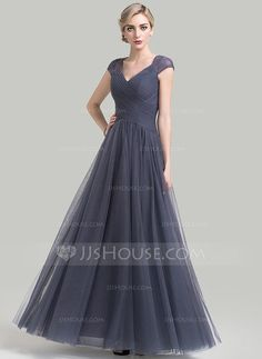 [US$ 154.99] A-Line/Princess V-neck Floor-Length Tulle Mother of the Bride Dress With Ruffle Lace (008085285)