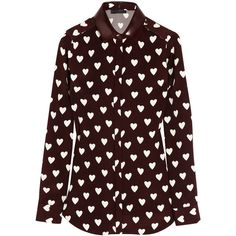 Burberry Prorsum Heart-print silk-crepe shirt (1 000 AUD) ❤ liked on Polyvore featuring tops, blouses, shirts, burberry, button blouse, button collar shirt, collared blouse, burgundy shirt and button shirts
