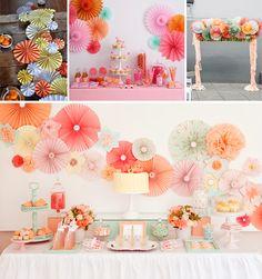 Abanicos de papel en tu boda candy bar arco ceremonia, camino mesa