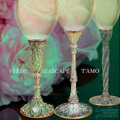 The Green Crystal Champagne Flutes from Luxurious Wedding Accessories are compatible with the Pantone Emerald Green and Grayed Jade Fashion Color Chart for 2013. These Toasting Glasses come in colors of  Teal, Celedon, Antique Green, and Turquoise encrusted with Swarovski crystals. Available thru www.luxuriousweddingaccessories.com #greenchampagneflutes  #greentoastingflutes #greenchampagneglasses #champagneflutes  #toastingflutes #champagneglasses