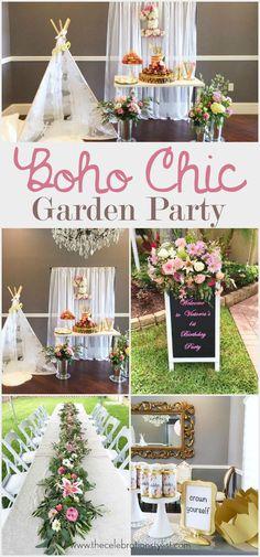 Boho Floral Garden Birthday Party decoration ideas.