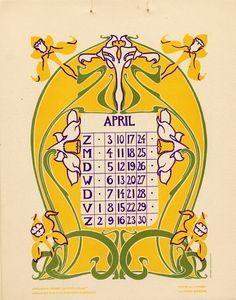 """Omslagkalender """"Bloem en blad"""" / Cover calendar """"Flower and leaf""""' illustrated by Anna Sipkema, published Vintage Calendar, Art Calendar, Calendar Girls, Art Nouveau Tiles, Art Deco, 1950s Art, Spider Art, Charm Quilt, Bullet Journal Themes"""