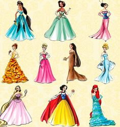 Disney princesses in modern dresses