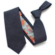 Midnight Indigo & Vintage Misty Botanical Print Necktie - vintage ties handmade in the United States