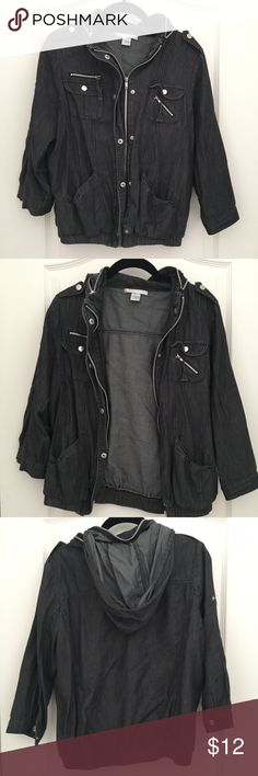 light denim jean motorcycle jacket large From Charlotte Russe. Good condition. hoodie can be rolled up and zipped away in the collar. perfect for a summers night. sleeves are close to 3/4 sleeves. Charlotte Russe Jackets & Coats