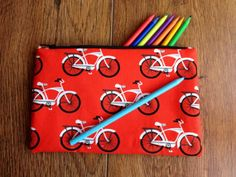 Pencil Case :  Bike design, red, black and white cotton lined pencil case / make up bag
