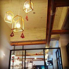 Christmas Cafe interior Cafe Interior, Updo, Track Lighting, Ceiling Lights, Christmas, Home Decor, Xmas, Decoration Home, Room Decor