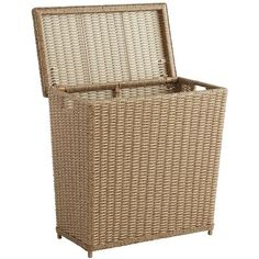 Echo Beach Light Brown Wicker Divided Laundry Hamper