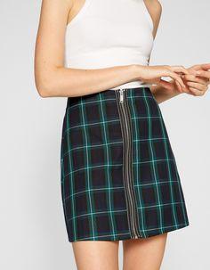 8f54c38f92 Checked mini skirt with zip - null | Stradivarius United Kingdom - Summer  Sale 2018 Check