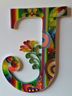 Tone down colours - blue greens Replace flower with freesias Quilling letter J. Arte Quilling, Quilling Letters, Paper Quilling Patterns, Quilled Paper Art, Quilling Paper Craft, Paper Crafts, Quilling Ideas, Paper Quilling For Beginners, Origami