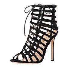 Black Genuine Leather Peep Toe Caged Sandals #NancyJayjii #Blacksandal #Womenshoes