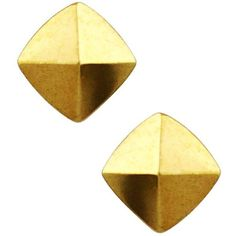Vince Camuto Gold Gold-Tone Pyramid Stud Earrings (690 PHP) ❤ liked on Polyvore featuring jewelry, earrings, gold, gold colored earrings, pyramid jewelry, gold tone jewelry, pyramid earrings and vince camuto earrings