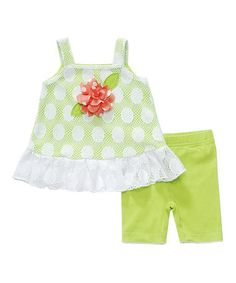 Take a look at this Green & White Polka Dot Lace Tunic & Shorts by Sweet Heart Rose on #zulily today!