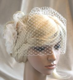 Check out Ivory Silk organza flowers hair clip and birdcage veil ( 2 items) wedding reception bridal party on wearableartz Wedding Hair Flowers, Wedding Art, Wedding Hair And Makeup, Flowers In Hair, Wedding Reception, Hair Makeup, Wedding Dresses, Organza Flowers, Silk Organza
