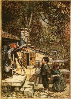 'Hansel and Gretel' by Arthur Rackham from 'The Fairy Tales of the Brothers Grimm' translated by Mrs. Edgar Lucas and illustrated by Arthur Rackham, 1909 (London: Constable & Company Ltd) Arthur Rackham, O Grimm, Grimm Fairy Tales, Baba Yaga, Hansel Y Gretel, Fable, Brothers Grimm, Fairytale Art, Children's Book Illustration
