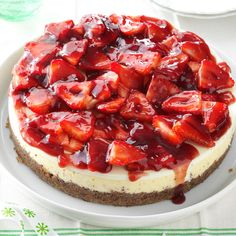 Glazed Strawberry Cheesecake Recipe -This ruby-red showstopper has been a family favorite for more than 30 years. When I take it to potluck parties and other get-togethers, we devour every last bite.—Jan Decarlantonio, Centreville, Maryland