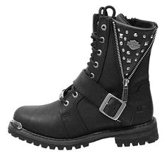 Amazon.com | Harley-Davidson Women's Mindy 6.5-Inch Black Boots. D87051 (Black, 8) | Boots